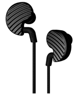 image showing pair of black colored in ear phone plugs