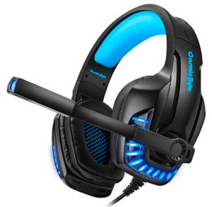 picture of headphone with mic in black and blue