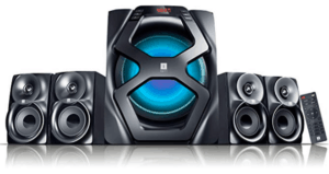 image of iball black colored 4.1 channel speaker system