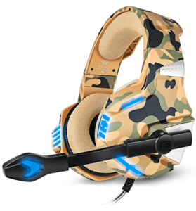 image of gaming headphones in camo yellow colour