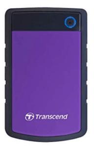 screenshot of transcend external drive in purple color