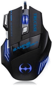 image of a gaming mouse in black and blue color